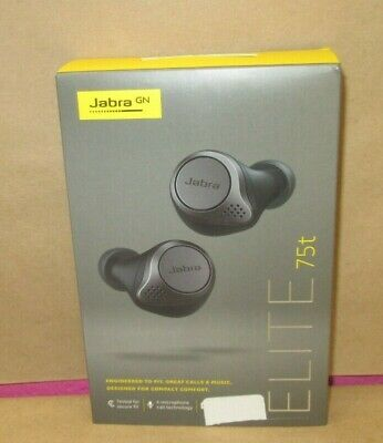 Jabra Elite 75t Earbuds True Wireless Earbuds With Charging Case Titanium Black 615822012560 Ebay