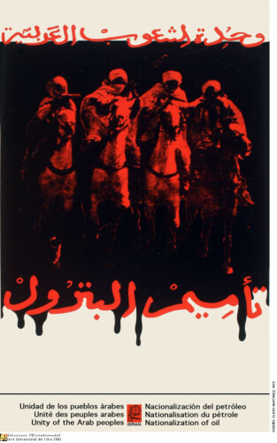 Political OSPAAAL poster.Tribal Arabs on horse.Socialist Middle East History.m23
