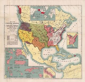 Details about 1904 UNITED STATES AMERICA historic map POSTER 2087002