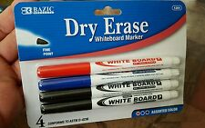 Dry erase 4/PK whiteboard markers red blue & black NEW for school office home