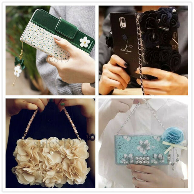Wallet PU Leather Flower Card Holder Case + Wristlet Cover For Verious Phones