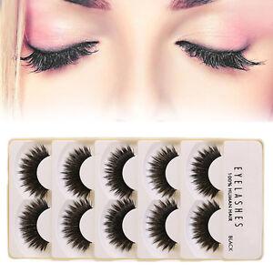 5Pair-Womens-Black-False-Eyelashes-Handmade-3D-Natural-Eye-Lashes-Extension
