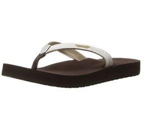 bfa0ef400be4 Women s REEF Star Cushion Sassy Flip Flop Sandal Brown White 1384