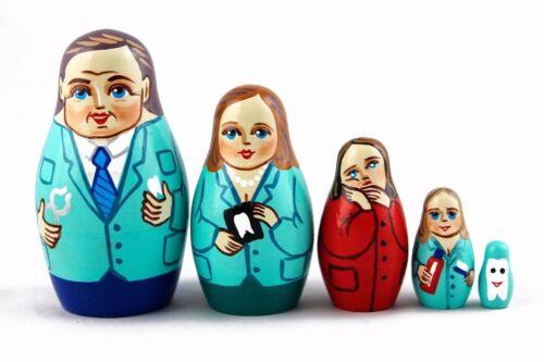 Matryoshka Matrioska Russian Nesting Doll Babushka Stomatologist Dentist 5 pc