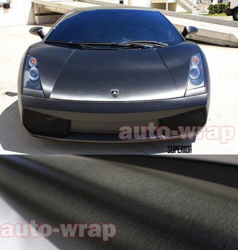 50FT x 5FT Car Metallic Steel Matte Brushed ALUMINUM Vinyl Wrap Sticker Black CF