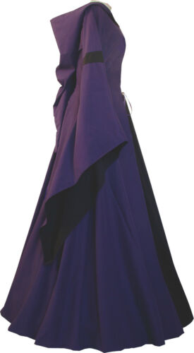 Medioevo Gothic CARNEVALE veste Abito Costume Josephine VIOLA-NERO xs-60