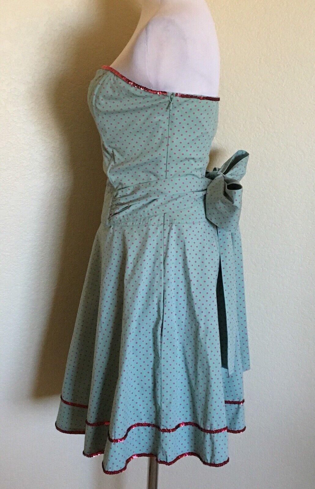 BETSEY JOHNSON NEW YORK Dress Size 6  bluee & Pink Polka dot Fit & Flare