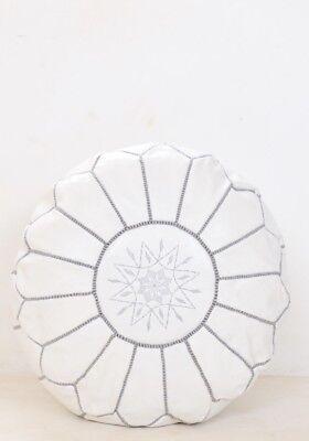 WHITE Moroccan POUF with grey Stitching Leather Pouf ottoman pouf morrocan pouf