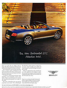 Image Is Loading 2012 Bentley Continental GTC Vintage Advertisement Car  Print