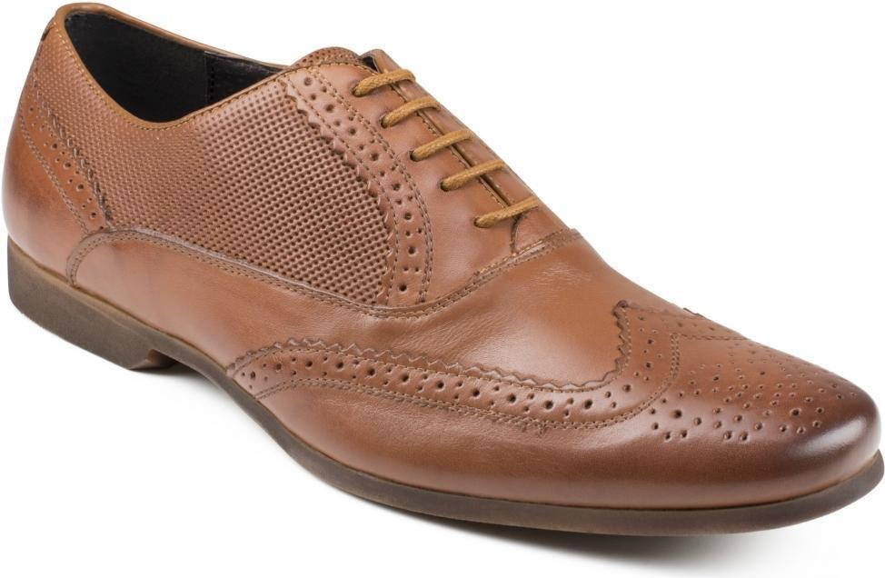 Front LAGOON Mens Perforated Leather Brogue Formal Detailed Evening Shoes Brown