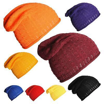 Bello Unisex Plain 100% Cotone Slouch Beanie Cappello A Coste Cavo Alzare Slouch Cappelli-