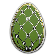 2015 Cook Islands Silver Imperial Egg in Cloisonné Green - SKU #86158