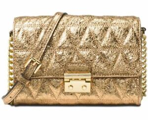026f2149cde Michael Kors Ruby Quilted Leather Clutch Crossbody Pale Gold for ...