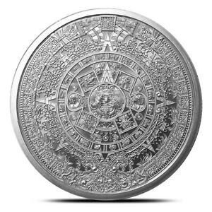 2018 Aztec Calendar Cuauhtemoc 1 Oz 999 Silver Round   Golden State Mint GEM BU