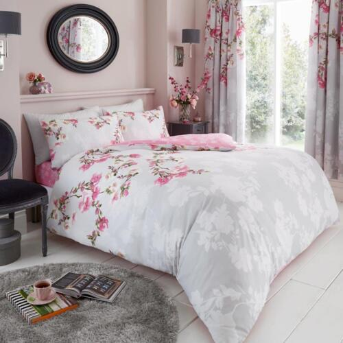 NEW Roseanne Floral Printed Reversible Duvet Bed Cover Pillowcases All Sizes