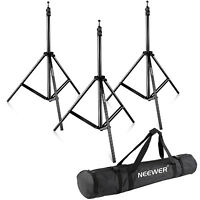 "Neewer 3 Pieces 75""/190cm Aluminum Alloy Tripod Light Stands with Carry Bag"