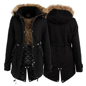 LADIES-DESIGNER-STYLE-FUR-LINED-PARKA-WARM-JACKET-HOODED-BLACK-WINTER-COAT