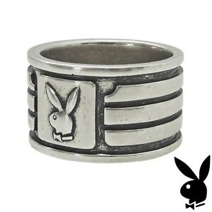 Mens-Playboy-Ring-Bunny-Logo-Wide-Band-Silver-Plated-Size-9-10-11-R-S-U-V-W-NEW