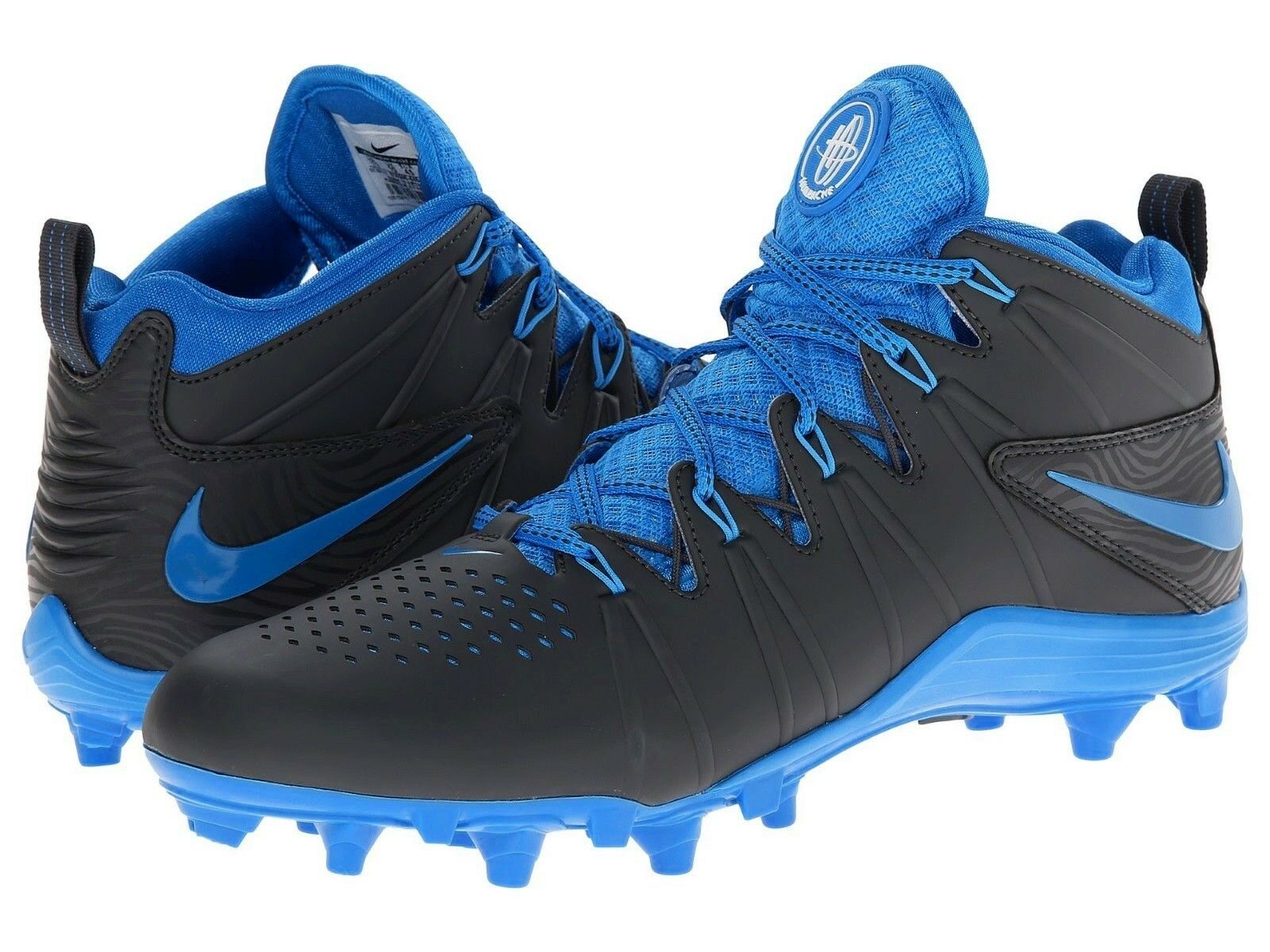 Mens NIKE HUARACHE 4 LAX Lacrosse Football Cleats 616296 040 ~ BLACK BLUE 11.5 Great discount