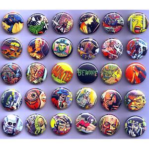 HORROR-PULP-COMICS-BADGES-x-30-Buttons-Wholesale-Bulk-Lot-25mm-One-Inch-1-034