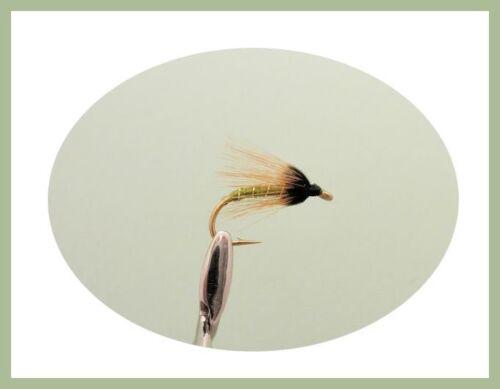 Wet Trout Flies Coch y Bondhhu Black /& Peacock 12 Greenwell Glory Size 12//14