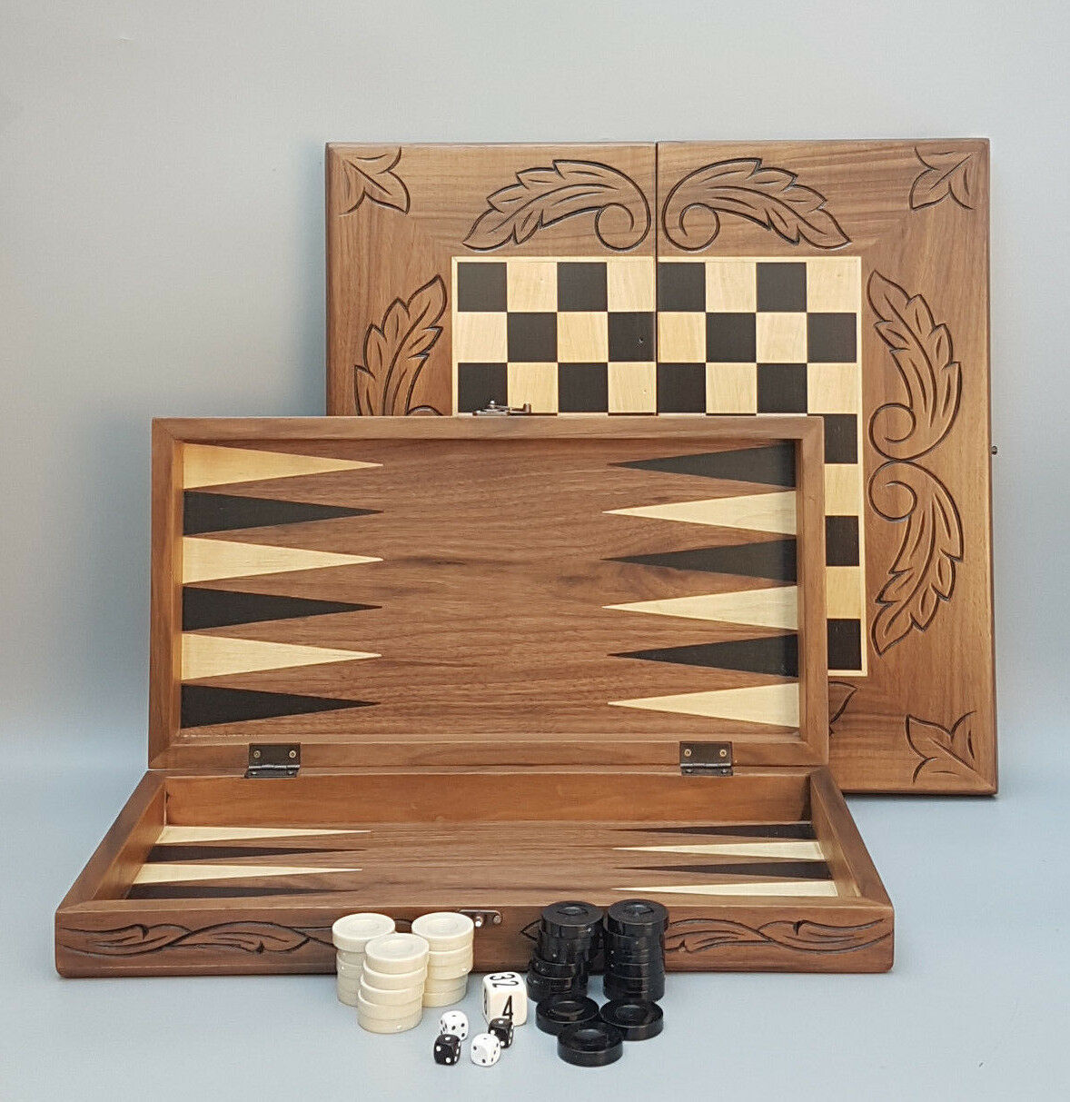 BACKGAMMON BACKGAMMON BACKGAMMON CHESS HAND CARVED SOLID GAME WOODEN SET 20  1b2fb3