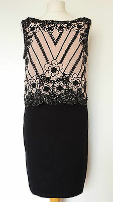 NEW DP 6-14 Black Nude Sequin Embellished Layered Party Pencil Dress
