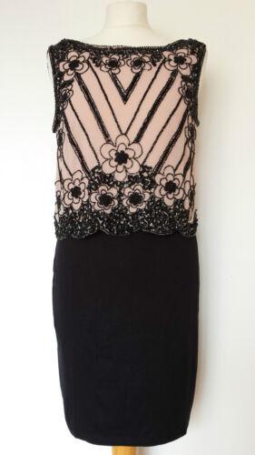 NEW Ex DP 6 8 Black Nude Sequin Embellished Layered Wedding Evening Dress