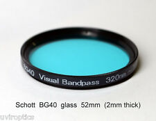 "Schott BG40 52mm x 2mm UV/IR Cut Filter Visual Bandpass IR Suppress ""Hot Mirror"""