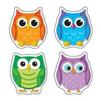 Carson CD-168078 Colorful Owls Shape Stickers NEW CLASSROOM DECORATIVE