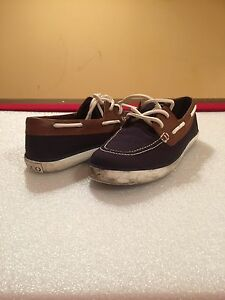 Polo Ralph Lauren Boys Junior Sander Boat Shoes,Size 7,Navy Tan   eBay ce36438ff76b