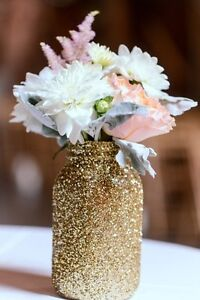 Details about 5 Pack Quart Glitter Mason Jars, Wedding Centerpiece  Decorations, mason jar