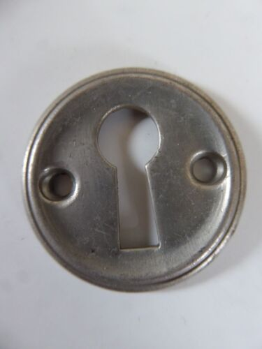 NICKLE PLATED * ROUND KEY HOLE COVER ESCUTCHEONS VINTAGE ANTIQUE BRASS
