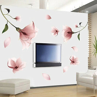 Creative Frosted Pink Lily Petal Removable Flower Wall Sticker Living Room DIY