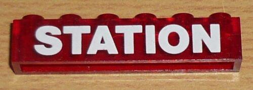 Lego City 1 bedruckter Stein Station in transparent rot 1 x 6