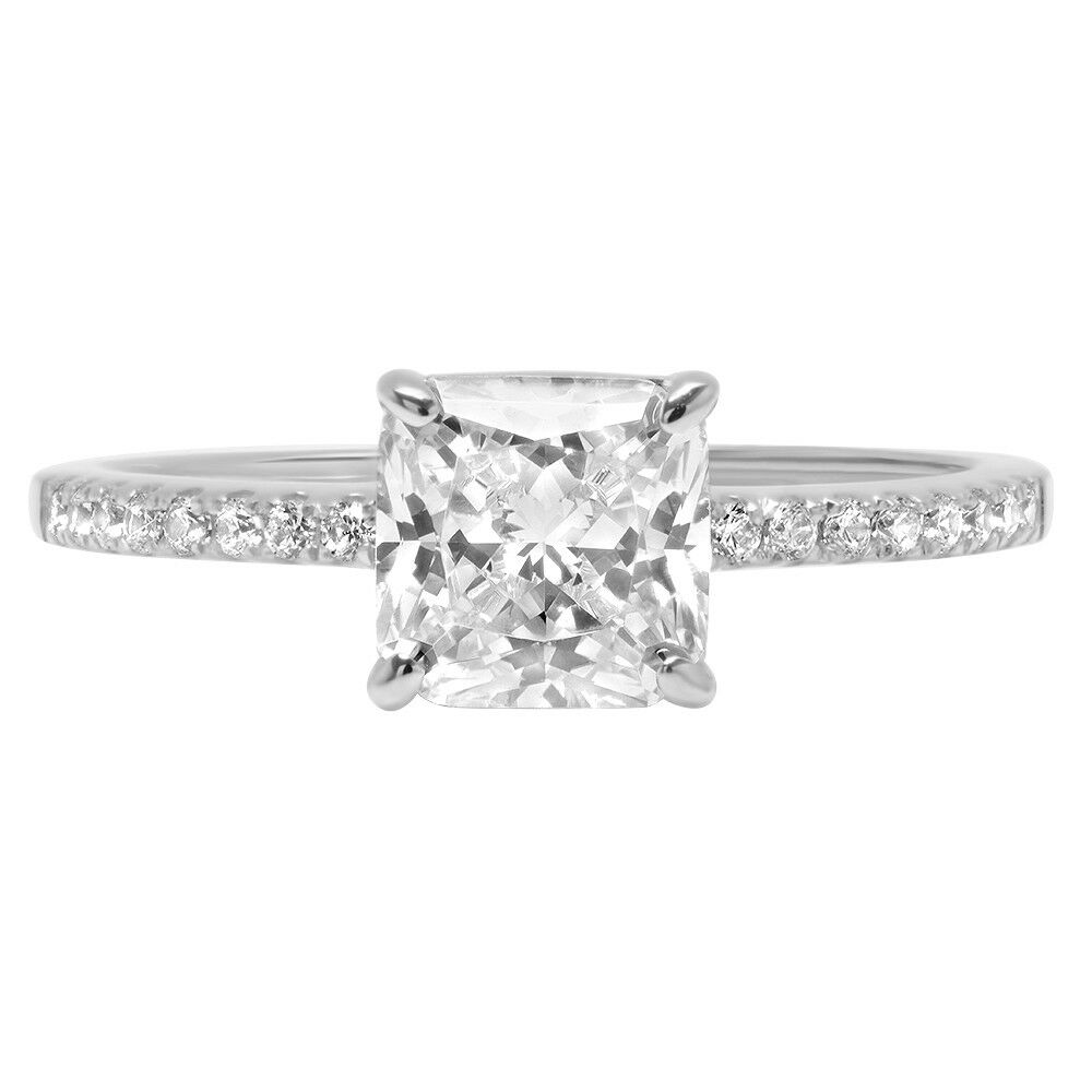 1.66ct Asscher Round Cut Engagement Bridal Accent Solitaire Ring 14k White gold