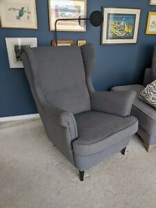 Details about IKEA Strandmon Wing Chair Armchair High Back Dark Grey Fabric (RRP £199)