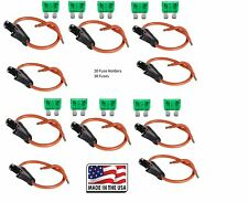 (10 PC) 12 GAUGE ATC FUSE HOLDER IN-LINE WITH (10 PC) 30 AMP FUSE Made in USA