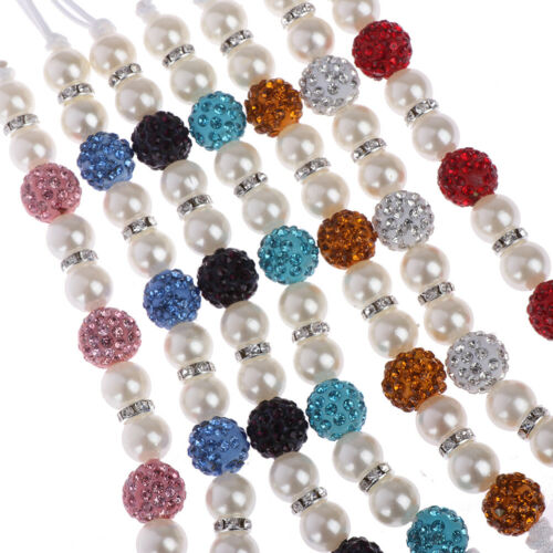 1PC Crystal Baby Kids Plastic Beaded Pacifier Clip Teether Dummy Strap ChainHC