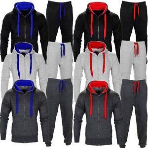 New-Men-039-s-Tracksuit-Set-Fleece-Hoodie-Top-Bottoms-Jogging-S-5XL