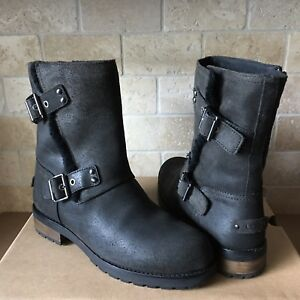 1702dc0f69d Details about UGG Niels II Water-resistant Black Leather Moto Short Boots  Size 9 Womens