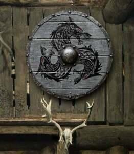 Larp Sca Shield Medieval Evora Valhalla Raven Authentic Battle worn Shield Gifts