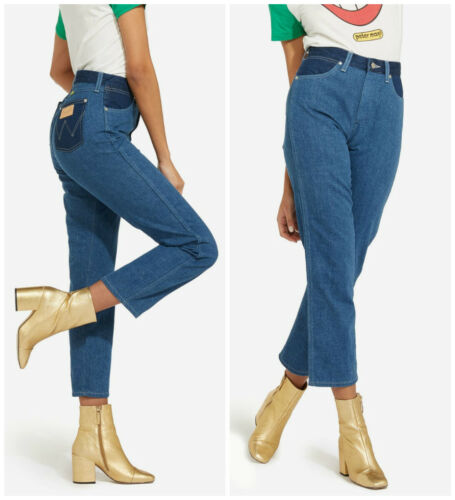 NEW WRANGLER by PETER MAX STRAIGHT JEANS BOYFRIEND RETRO CROP MOM MID ANKLE