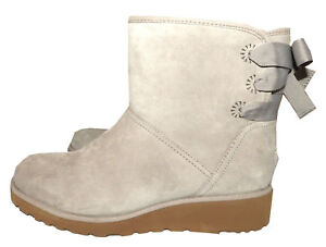 13735f6fb19 Details about $199 UGG Australia Gray Suede Ankle Boots Back Bow Fur Lined  Wedge Booties 9.5