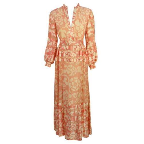 CEIL CHAPMAN 1960s Pink and White Silk Chiffon Go… - image 1