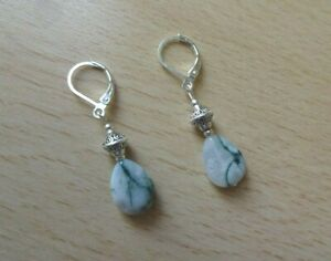 Dainty MOSS  AGATE gemstone drop  EAR RINGS St Silver Gift wrapped