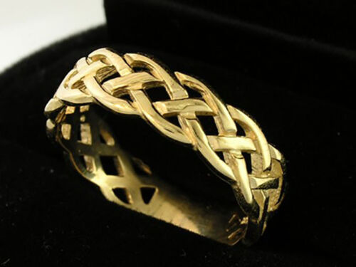 R005 Genuine Solid 9ct or 18ct Gold Keltic Wedding Band Ring sizes 5 to 11.5