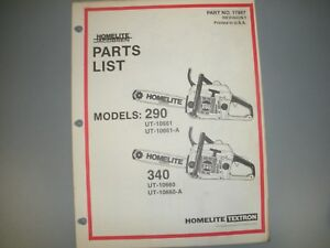 Image Is Loading Homelite Chainsaw Parts List Manual Ipl 290