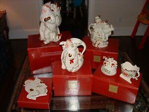 Collection of Lenox Holiday Santa Cookie Jar Pitcher Trivet Sugar Creamer - New