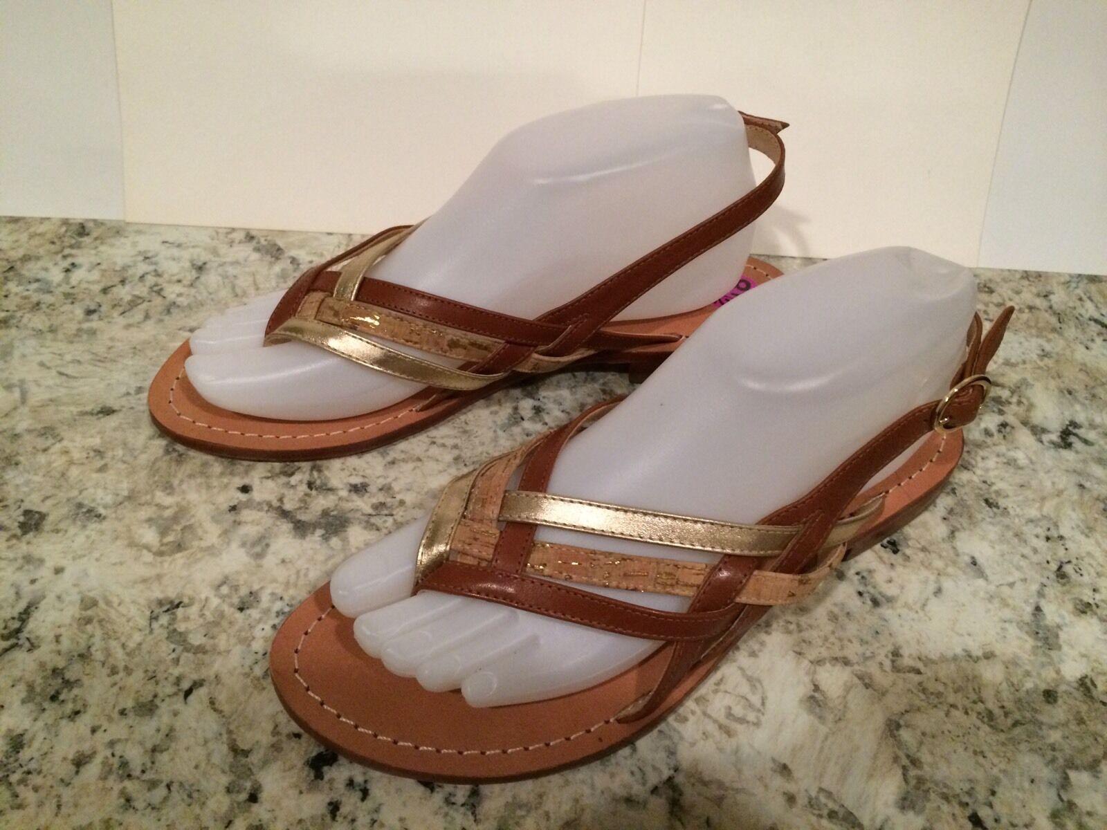 Diane Von Furstenberg Carley Sandals Slingback Thong Flat gold Brown 8.5 M
